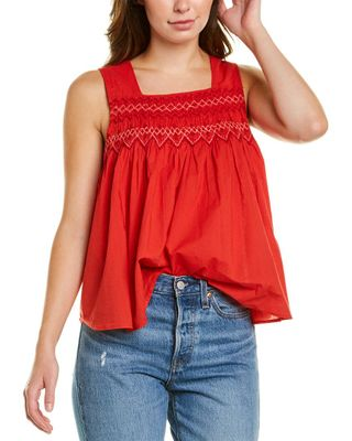 Madewell Embroidered Smocked Tank Top