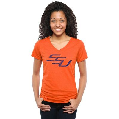 Savannah State Tigers Women's Classic Wordmark Tri-Blend V-Neck T-Shirt - Orange