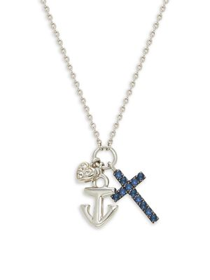 Effy Sterling Silver & Sapphire Cross, Heart & Anchor Pendant Necklace
