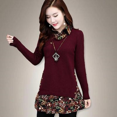 2018 Autumn Maternity Sweaters Turn Down Collars Patchwork Floral Printed Pullovers Shirt for Pregnant Women DF632