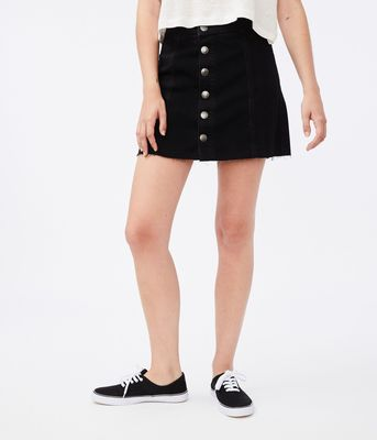 Aeropostale Real Denim High-Rise Button-Front Skirt***