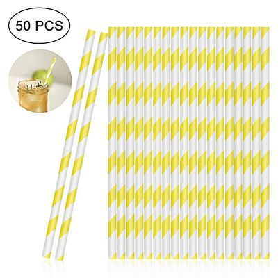 50 PCS Biodegradable Paper Straws Bulk