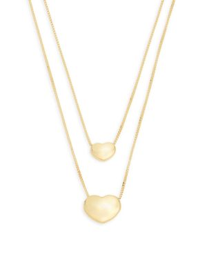 Saks Fifth Avenue Made in Italy 14K Gold Dual Strand Heart Pendant Necklace