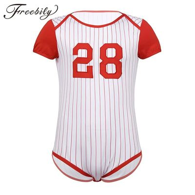 Men Adults One-piece Scooped Neckline ABDL Baby Lover Costumes Pressed Crotch Baseball Themed Bodysuit Romper Pajamas