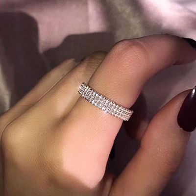 Modyle 3 Row Lines Clear Crystal Wedding Rings For Women Fashion Rhinestone Stainless Steel Female Teen Jewelry anillos mujer