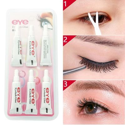 6pcs Eyelash Glue False Eyelash Waterproof False Eyelashes Makeup Adhesive Eye Lash Glue Cosmetic Tools