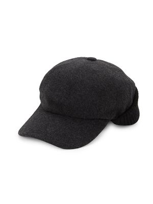 Saks Fifth Avenue Made in Italy Knit-Back Wool-Blend Cap