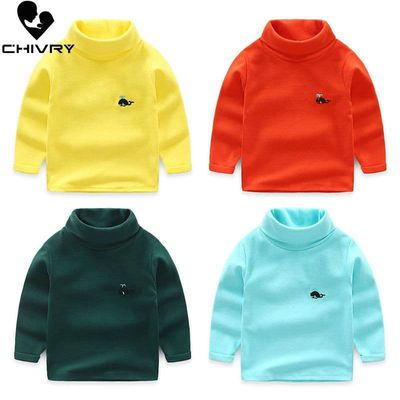 Chivry New 2019 Boys Girls Kids Fashion Solid Knit Pullover Sweater Tops Children Turtleneck Cartoon Whale Embroidery Sweaters