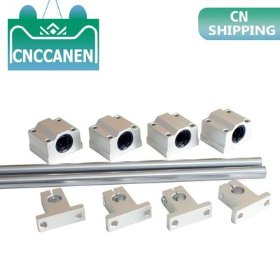 Optical Axis Linear Rail Shaft OD8/10/12mm 200-600mm + SCS8/10/12UU Linear Bearing Blocks + SK8/10/12 Bearing Support