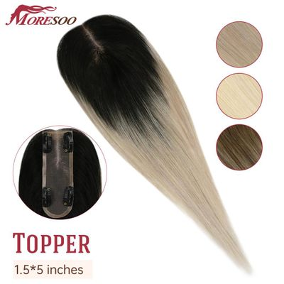 Moresoo Hair Toppers For Women 1.5*5 inch Machine Made Remy Human Hair Toupee women Wigs Hairpiece 8-16 inch Mono Clip in Hair