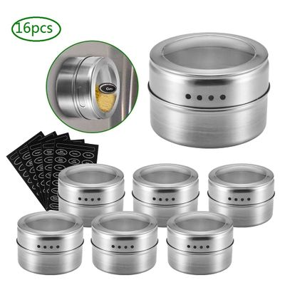 Magnetic Spice Jar Set With Stickers Stainless Steel Spice Tins Spice Storage Container Pepper Seasoning Sprays Tools Spice Jar