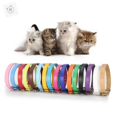 SUPREPET PU Strap Cat Collars Colorful Soft Pet Cat Dog Collar for Small Cat Medium Dog Puppy Adjustable Collar Pet Products