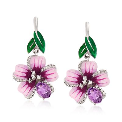 Ross-Simons Amethyst and . White Topaz Flower Drop Earrings With Multicolored Enamel in Sterling Silver