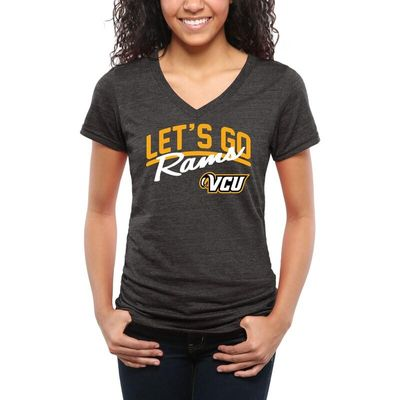 VCU Rams Women's Let's Go Tri-Blend V-Neck T-Shirt - Black