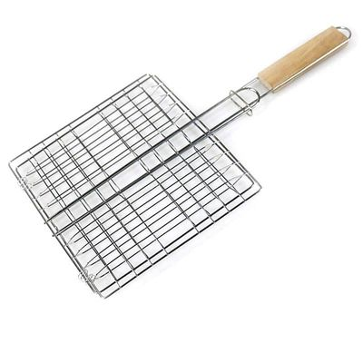 Stainless Steel Nonstick Barbecue Grill Basket Tools Grill Mesh for Fish Hamburger Goldbaking Portable BBQ Grilling Basket