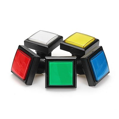 44x44mm Blue Red White Yellow Green LED Light Push Button For Arcade Game Console DIY-Red