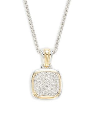 Effy Sterling Silver & Diamond Square Pendant Necklace