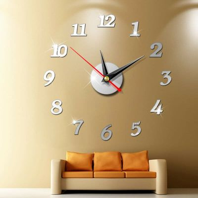 NEW Fashion Modern Large Wall Clock 3D Mirror Sticker Unique Big Number Watch DIY Decor