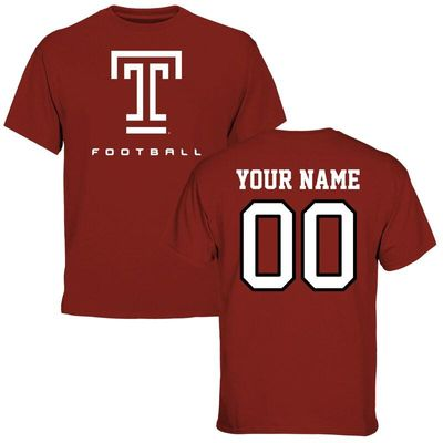 Temple Owls Personalized Football T-Shirt - Cardinal