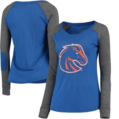 Boise State Broncos Women's Preppy Elbow Patch Slub Long Sleeve T-Shirt - Royal/Gray