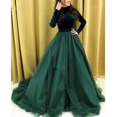 Emerald Green Velour Muslim Evening Dresses Full Sleeves Elegant A-line Long Prom Gowns Formal Party Dress 2020 Robe De Soiree