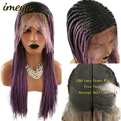 FANXITON 13x6 Braided Box Braids Lace Wig Heat Resistant Fiber With Baby Hair Braided Synthetic Lace Front Wigs For Women