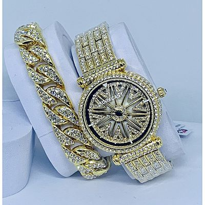 2019 Fashion Spinning Watch With Hand Bracelet-Gold