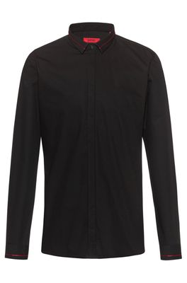 HUGO BOSS - Extra Slim Fit Cotton Shirt With Contrast Stripe Details