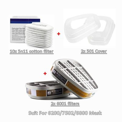 New 6001 Filtering Cartridge 5N11 Cotton Filters Set Replaceable For 6200/7502/6800 Mask Chemical Respirator Painting Spraying