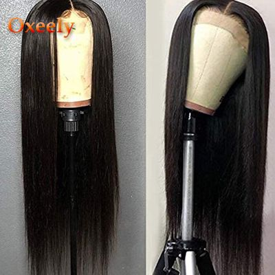 Oxeely Lace Front Wigs Long Straight Synthetic Wigs for Black Women 180 Density Black Straight Wig Heat Resistant Fiber Hair Wig