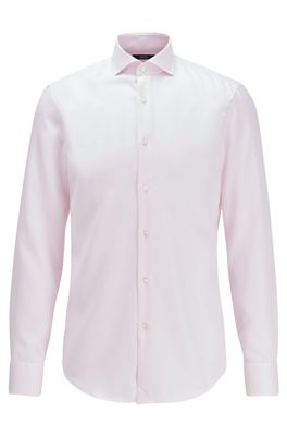 HUGO BOSS - Slim Fit Shirt In Structured Cotton With Cooling Finish