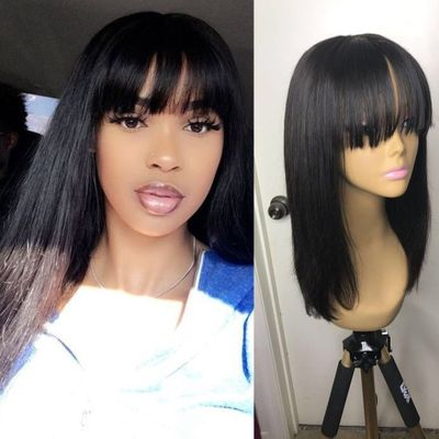 Human Hair Wigs With Bangs Straight Short Brazilian Fringe Wig Bob Bang Wig For Women Ms Love Remy Hair