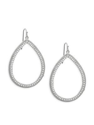 Rivka Friedman Rhodium-Plated & Cubic Zirconia Drop Teardrop Hoop Earrings