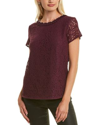 KARL LAGERFELD Mixed Media Lace Top