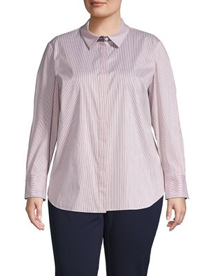 Lafayette 148 New York Plus Striped Cotton-Blend Shirt