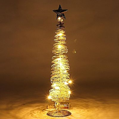 Sprinkling Golden Luminous Christmas Tree With LED Light Decor Control Switch