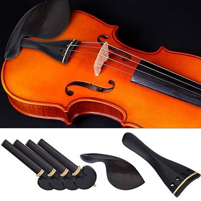 1Set Wood Violin Parts 4/4 Fittings Chinrest Pegs Tailpiece Tunners Endpin - Intl