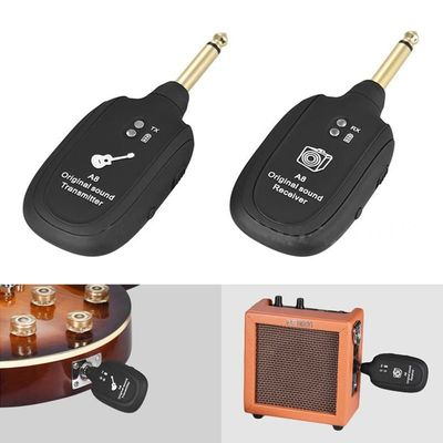 UHF Guitar Wireless System Transmitter Receiver Built-in Rechargeable Black Charge Port Micro-USB UHF 730MHz lightweight  Max.50