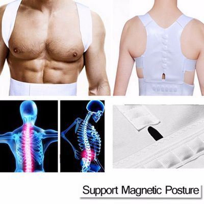 White Comfortable Magnetic Posture Support Corrector Back Pain Belt Brace Shoulder Release Pain From Illness