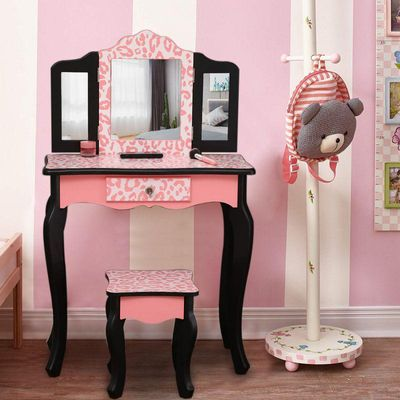 Ktaxon Kids' Wooden Vanity Table and Stool Set with 3 Mirrors, Princess Makeup Dressing Table,Children's Furniture