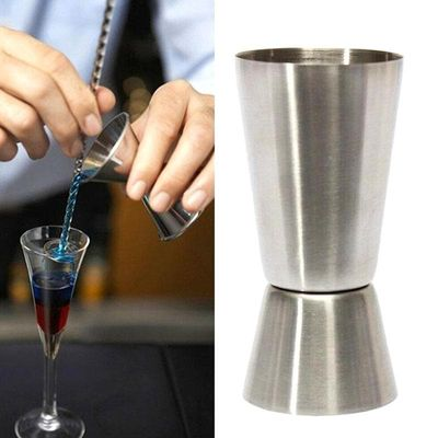 1 Pcs Stainless Steel Cocktail Shaker Mixer Jigger Single Double Shot Short Drink Wine Double-head Measuring Cup Bar 15/30ml