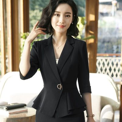 Professional Women's Blazer New Fall Fashion Short Sleeve Jacket Top Office Women's Overcoat Work Clothes