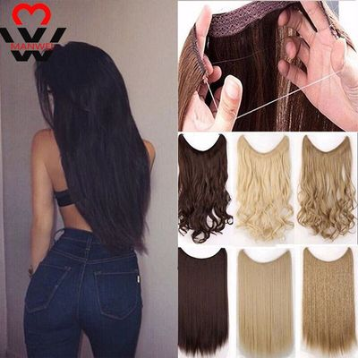 MANWEI long Clip in One Piece Fish Line Hair Extensions Straight hair Synthetic hairpiece Black brown purple red