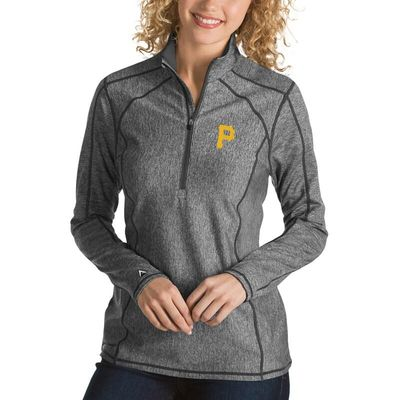 Pittsburgh Pirates Antigua Women's Tempo Desert Dry 1/4-Zip Pullover Jacket - Heathered Charcoal