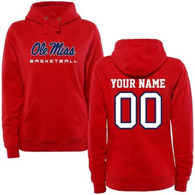 Ole Miss Rebels Women's Personalized Basketball Pullover Hoodie - Red