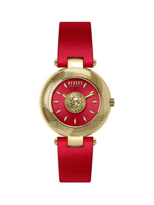 Versus Versace Logo Goldtone Stainless Steel Leather Strap Watch
