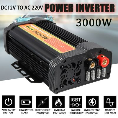 3000W Power Inverter 12 V to AC 220 Volt LCD Digital Max 6000 Watt Modified Sine Wave Car Charge Converter Transformer 2 USB