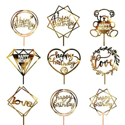 Wedding Birthday Pastry Festival Decorating Supplies Acrylic Happy Birthday Cake Hot Stamping Golden Insert Card Cake Decoration