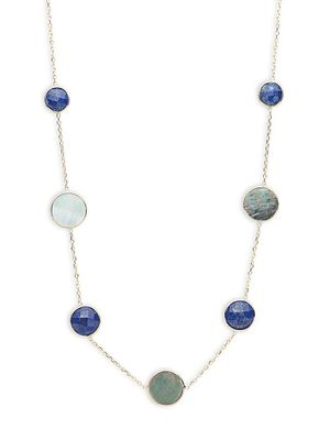 Saks Fifth Avenue 14K Yellow Gold, Mother-Of-Pearl & Lapis Station Necklace
