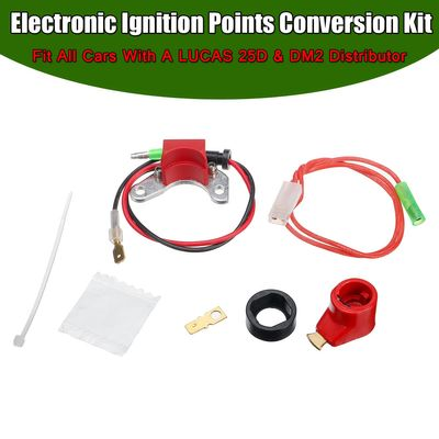 A Set Electronic Ignition Points Conversion Distributor Coil Kit Fit All Cars For LUCAS 25D + DM2 Distributor